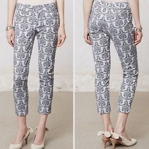 Anthropologie/Cartonnier silver brocade pants 6